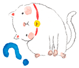 Easy going white cat sticker #5708764