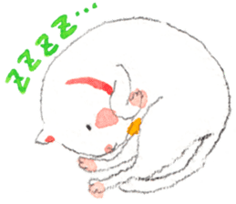 Easy going white cat sticker #5708770