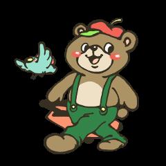 A bear and bird