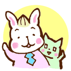 rabit  and cat sticker