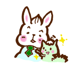 rabit  and cat sticker sticker #5800342