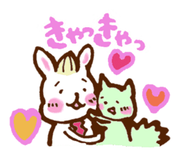 rabit  and cat sticker sticker #5800343
