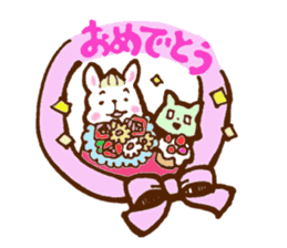 rabit  and cat sticker sticker #5800362