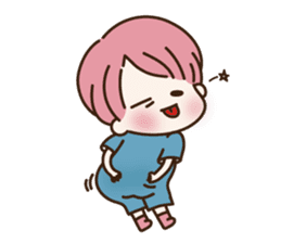 pink hair boy 'shushu' sticker #5801125