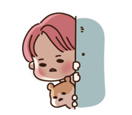 pink hair boy 'shushu' sticker #5801127