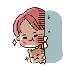 pink hair boy 'shushu' sticker #5801128