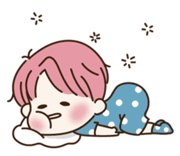 pink hair boy 'shushu' sticker #5801133