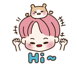 pink hair boy 'shushu' sticker #5801134
