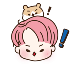 pink hair boy 'shushu' sticker #5801136