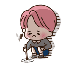 pink hair boy 'shushu' sticker #5801139