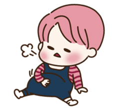 pink hair boy 'shushu' sticker #5801141
