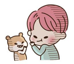 pink hair boy 'shushu' sticker #5801142