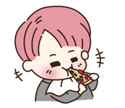 pink hair boy 'shushu' sticker #5801146