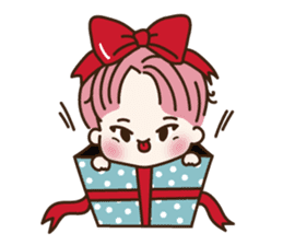 pink hair boy 'shushu' sticker #5801147