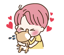 pink hair boy 'shushu' sticker #5801148