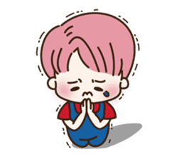pink hair boy 'shushu' sticker #5801149