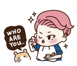 pink hair boy 'shushu' sticker #5801151