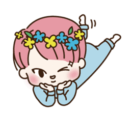 pink hair boy 'shushu' sticker #5801153