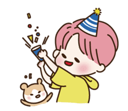 pink hair boy 'shushu' sticker #5801156