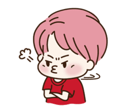 pink hair boy 'shushu' sticker #5801160