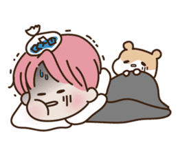 pink hair boy 'shushu' sticker #5801161