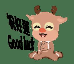 reindeer Lily is running around world sticker #5837610
