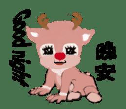 reindeer Lily is running around world sticker #5837628