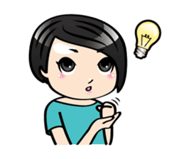MUAY MENG   Short Hair with Daily Life sticker #5860661