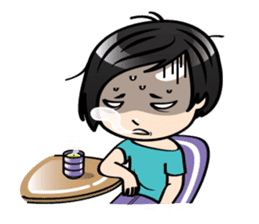 MUAY MENG   Short Hair with Daily Life sticker #5860668