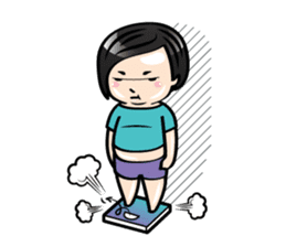 MUAY MENG   Short Hair with Daily Life sticker #5860676