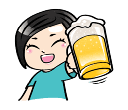 MUAY MENG   Short Hair with Daily Life sticker #5860677