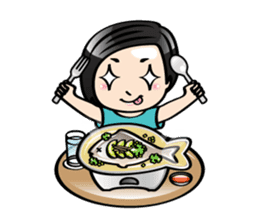 MUAY MENG   Short Hair with Daily Life sticker #5860681