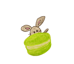 Cute(Kawaii )animals with macaroons sticker #5861300