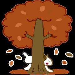 Sticker.rabbit and tabby cat