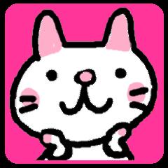 Japanese white cat mimi-chan