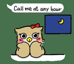 "eared owl ""mimi"" (english) sticker #6206205"