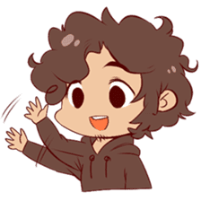 Boy with curly hair sticker #6366832