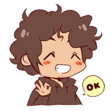 Boy with curly hair sticker #6366840