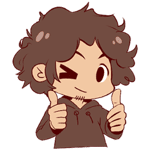 Boy with curly hair sticker #6366852