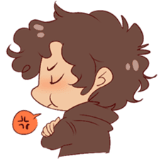 Boy with curly hair sticker #6366861