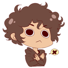 Boy with curly hair sticker #6366863