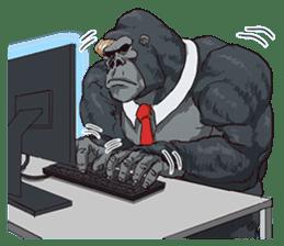 Office worker gorilla 2 sticker #6408600