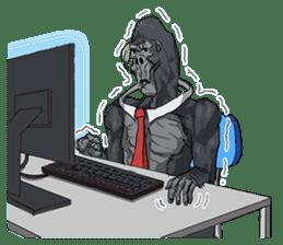 Office worker gorilla 2 sticker #6408603
