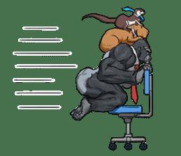 Office worker gorilla 2 sticker #6408612