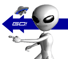 Alien Grey 3D (English) sticker #6438841