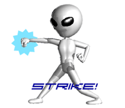 Alien Grey 3D (English) sticker #6438869