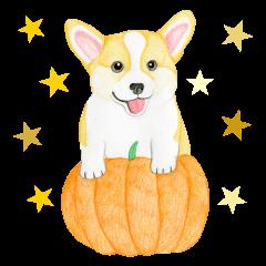 Happy Halloween Corgi Sticker (English)