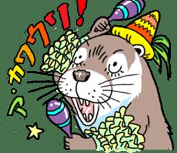 Amusing otter family sticker #6476439