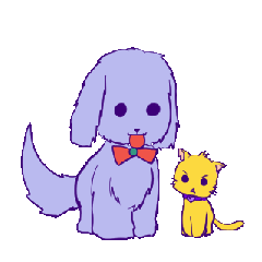 Dog and yellow cat