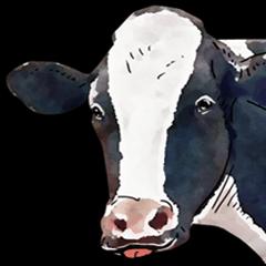 Watercolor cattle sticker